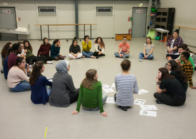 Geleitet wurde der Workshop von Nele Tippelmann, die als Regisseurin und Leiterin der Abteilung Theaterpädagogik, Vermittlung und Partizipation am Mecklenburgischen Staatstheater tätig ist. © Silke Winkler